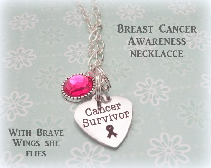Breast Cancer Survivor Necklace, Cancer Awareness Jewelry, Awareness Month, Personalized Gift, Jewelry for Women, Gift for Her, Women's Gift