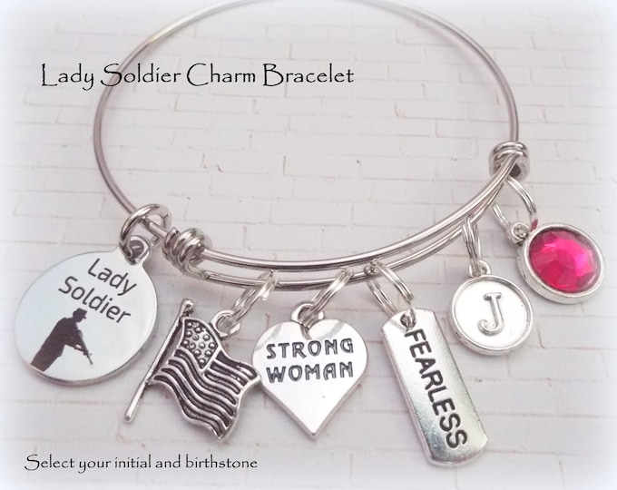 Female Soldier Gift, Gift for Woman Soldier, Lady Soldier Charm Bracelet, Custom Jewelry Gift for Soldier, Birthday Gift for Her
