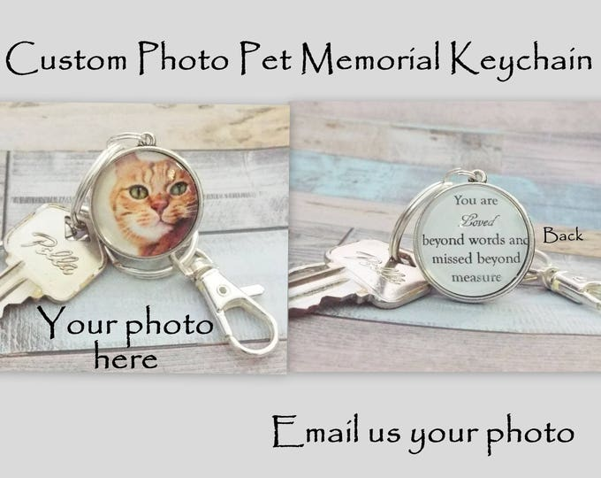 Pet Memorial Gift, In Memory of Pet, Loss of Pet Gift, Pet Memorial Custom Photo Keychain, Gift for Grief Over Pet Death, Unisex Gift