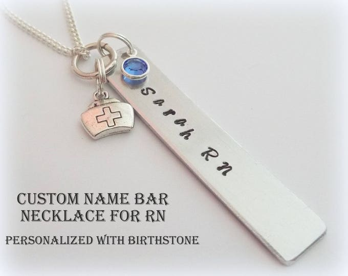 Gift for Nurse, Custom Name Bar RN Necklace, Personalized Gift, Birthstone Jewelry, Custom Jewelry, Gift for Her, Graduation Nurse Gift
