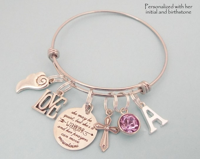 Christian Jewelry, Spiritual Charm Bracelet, Prayer Warrior, Bible Verse, Personalized Gift, Birthstone Jewelry, Initial Bracelet, Girl Gift