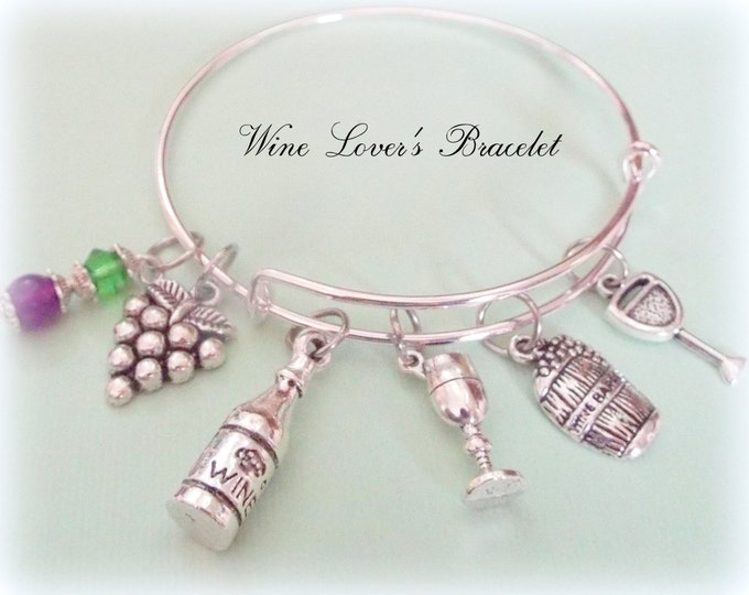 Wine Lover Charm Bracelet, Gift for Wine Lover, Gift Idea for Best Friend, Custom Bracelet Gift, Gift for Friend Who Loves Wine, Womens Gift