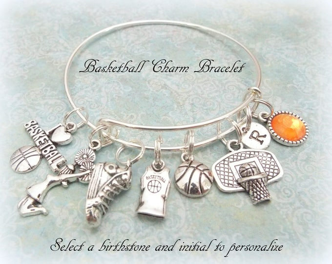 Girls Basketball Charm Bracelet, Gift for Basketball Player, Basketball Team Bracelet, Personalized Basketball Coach Gift, Sports Jewelry