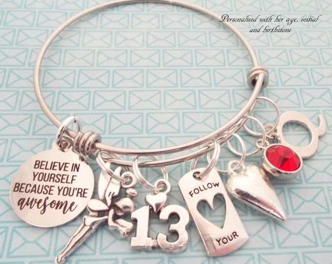 13th Birthday Girl Charm Bracelet, Girl 13 Birthday, 13 Year Old Girl Gift, Personalized Gift, Custom Jewelry, Gift for Her, Teenage Girl