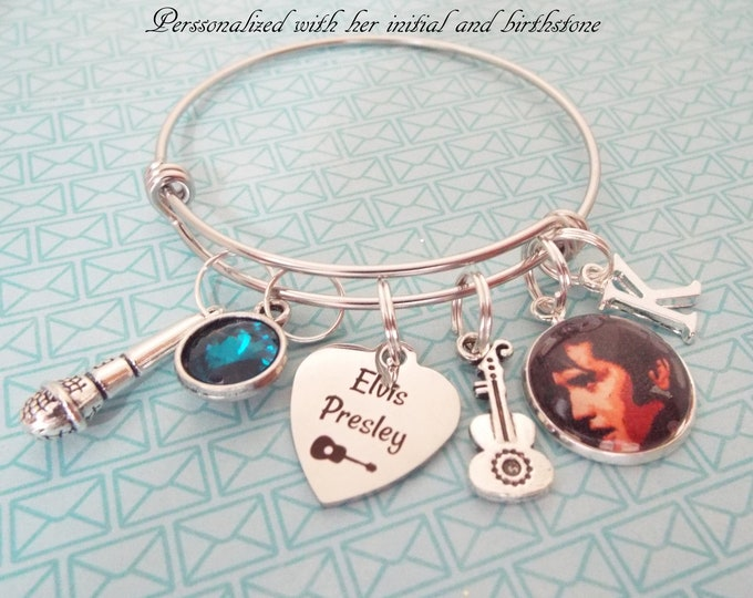 Elvis Presley Fan Gift, Elvis Presley Charm Bracelet, Music Lovers Gift, Personalized Birthday Gift for Her, Elvis Lover Gift, Gift for Her