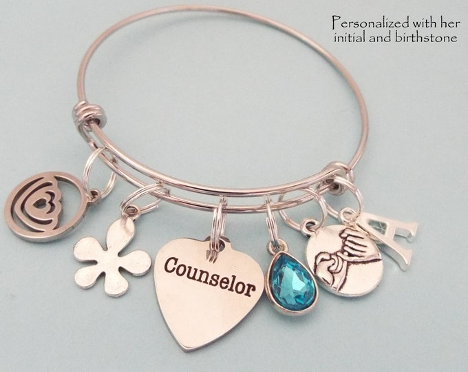 Graduation Gift for Counselor, Graduating Mental Health Counselor, Personalized Gift for New Graduate, Gift for Her, Initial Jewelry