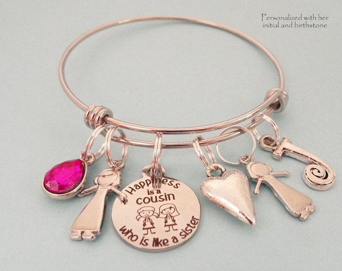 Cousin Birthday Charm Bracelet, Personalized Gift for Cousin Best Friend, Birthstone Jewelry, Initial Bracelet, Gift for Her, Girl Gift
