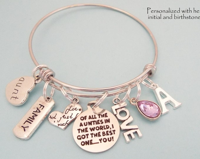 Aunt Gift, Best Aunt Charm Bracelet, Gift from Niece, Personalized Gift, Gift for Her, Custom Jewelry, Birthstone Jewelry, Initial Bracelet