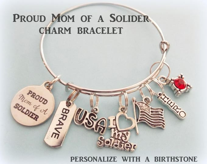 Soldier's Mom Charm Bracelet, Gift for Military Mom, Personalized Gift for Her, Patriotic Charm Bracelet Gift, Personalized Jewelry