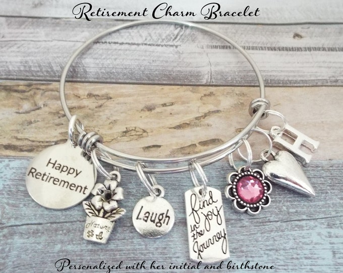 Retirement Gift Charm Bracelet, Gift for Retiree, Retirement for Her, Boss Retirement Gift, Congratulations Retirement, Happy Retirement
