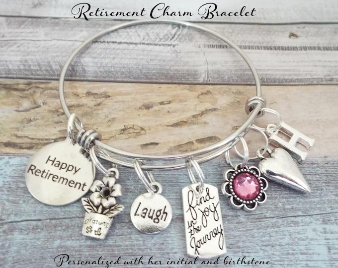 Retirement Gift Charm Bracelet, Gift for Retiree, Retirement for Her, Boss Retirement Gift, Congratulations Retirement, Happy Retirement