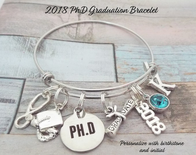 Graduation Gift for PH.D, 2018 Graduation Charm Bracelet, Personalized Graduation Gift, Doctorate Gift, Celebrate Graduation for Her