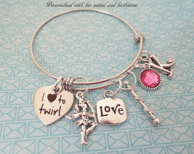 Baton Twirler Charm Bracelet, Love to Twirl, Birthday for Girl, Birthstone Gift, Majorette Jewelry, Personalized Girl Gift, Custom Jewelry