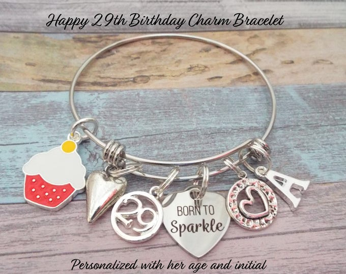 29th Birthday Charm Bracelet, Gift 29th Birthday, Women's Birthday Gift, Personalized Gift, Custom Jewelry Gift, Gift for Women's Birthday
