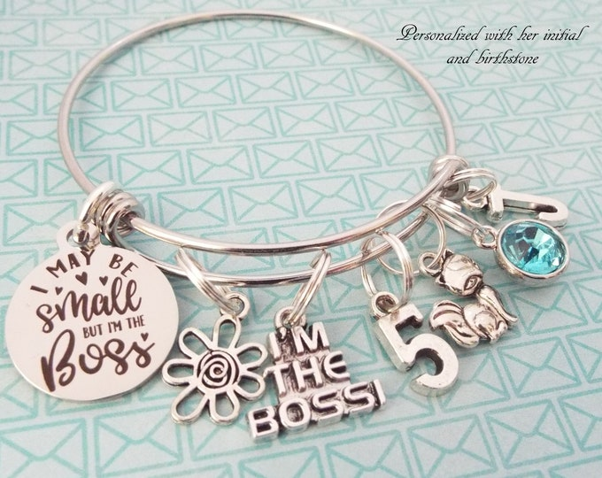 Girl 5th Birthday Charm Bracelet, Girl Turning 5 Gift, Personalized Gift, Child's Jewelry, Daughter Gift, Silver Jewelry, Niece Gift