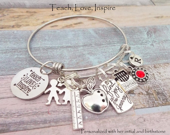 Gift for Teacher, Teacher Gift Idea, End of School Teacher Gift, Student to Teacher Gift, Personalized Gift, Custom Jewelry, Gift for Her
