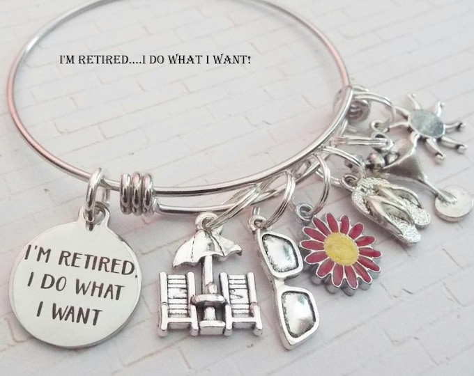 Retirement Charm Bracelet, Gift for Retiree, Retirement Gift, Personalized Retirement Jewelry Gift, Birthstone Jewelry Gift Idea for Her