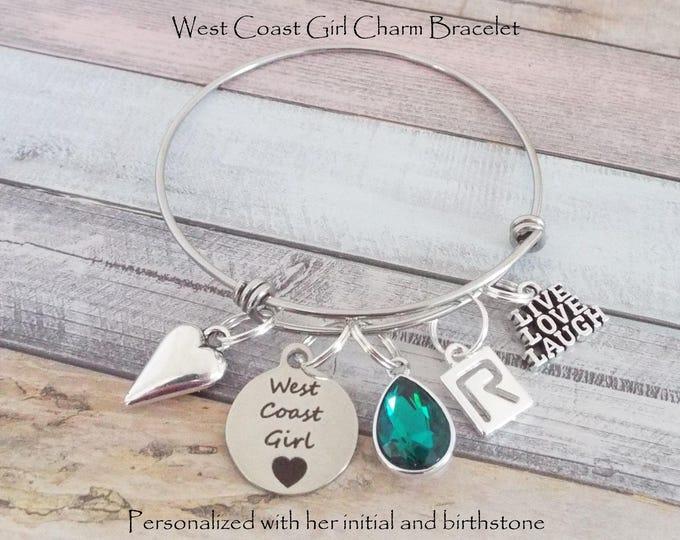 West Coast Girl Charm Bracelet, Personalized Gift, Gift for Her, Custom Bracelet, Gift for Women, Women's Birthday Gift, Girl's Bracelet