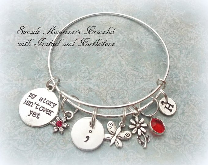 Suicide Awareness Charm Bracelet, Personalized Gift, Gift for Her, Custom Jewelry, Birthstone Jewelry, Encouragement Gift, Girl Gift