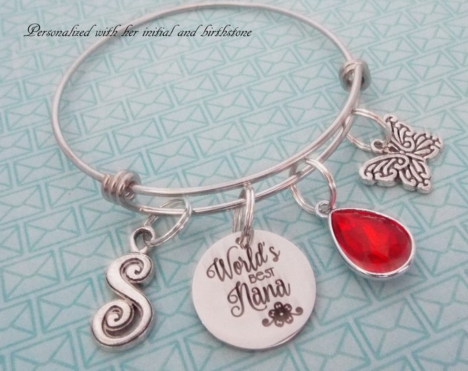 Nana Gift Charm Bracelet, Personalized Gift, Grandmother Birthday, Grandchild Gift for Nana, Mother's Day Gift, Birthstone Gift, Butterfly
