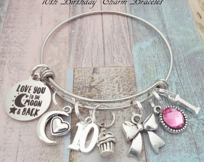 Girl Birthday Gift, 10th Birthday, Ten Year Girl, Daughter Gift Charm Bracelet, Personalized Gift, Birthday for Her, Custom Jewelry