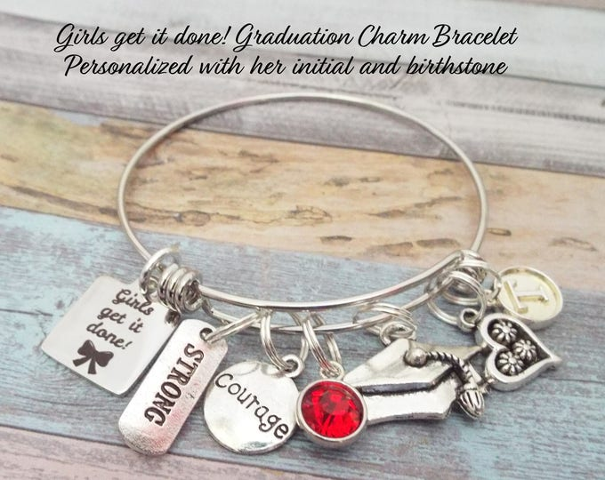 Graduation Gift Charm Bracelet, Girl's Graduation Gift, Gift for 2018 Graduate, High School Graduate, Collete Graduate, Gift for Graduation