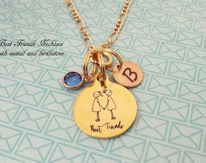 Best Friend Gift Necklace, Gold Birthstone Jewelry, BFF Gift, Charm Necklace Girlfriend, Bestie Gift, Personalized Gift, Gift for Her