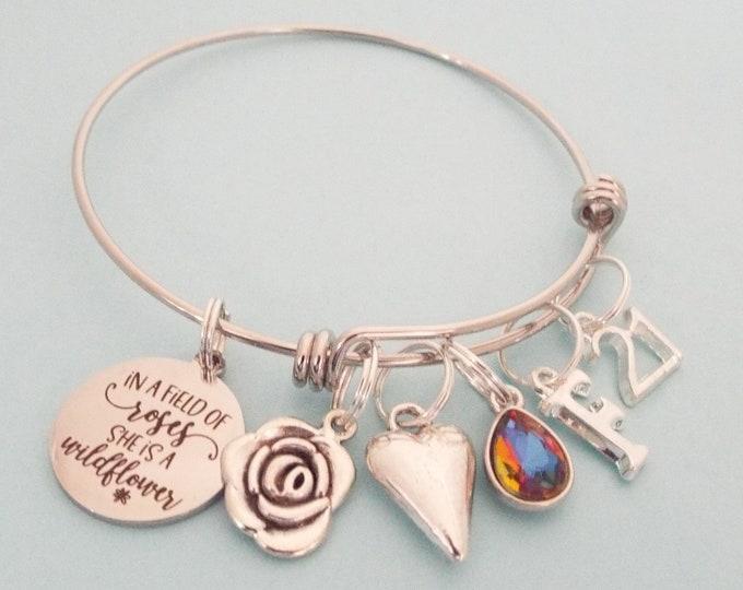 21st Birthday Gift for Girl, Charm Bracelet for Turning 21, Personalized Stacking Bracelet, Custom Birthstone Jewelry, Gift for Her, Custom