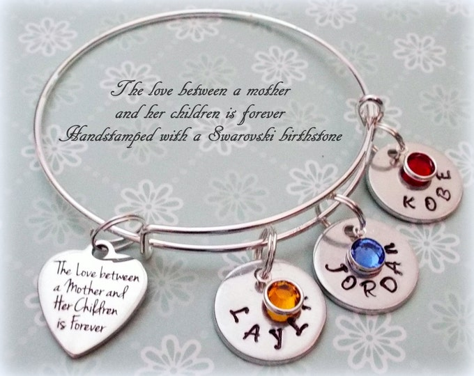 Mother's Day Gift, Gift for Mom, Personalized Gift for Mom, Gift for Her, Mom's Birthday, Name Bracelets, Birthstone Jewelry, Handstamped