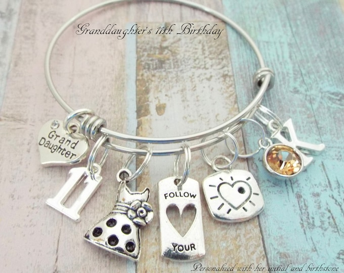 Girl Birthday Charm Bracelet, 11th Birthday Gift, Daughter Jewelry, Personalized Gift, Gift for Her, Gift for 11 Year Old Girl, Niece Gift