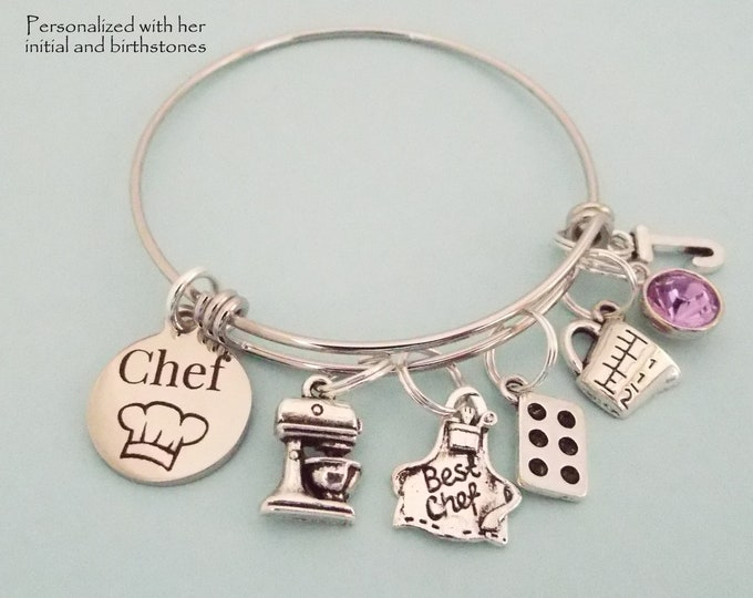 Gift for New Chef Graduation, Personalized Cook Charm Bracelet, Culinary School Graduation Gift, Best Baker Gift, Gift for Her, Birthstone