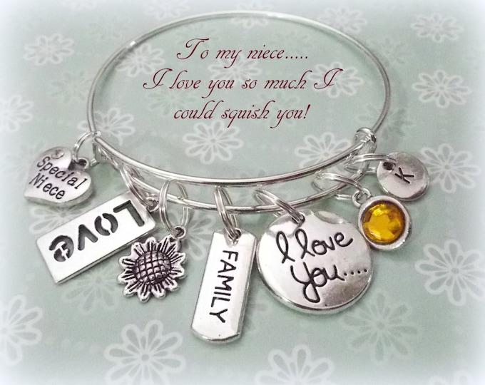 Niece Gift, Niece Charm Bracelet, Gift for Niece, Personalized Gift, Personalized Jewelry, Niece Birthday, Gift for Her, Jewelry for Niece