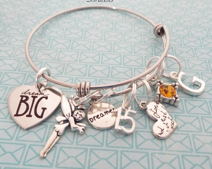 Personalized 15th Birthday Girl, Charm Bracelet, Birthday for Her, Gift for Her, Fairy Jewelry, Teenage Girls, Teenager Birthday, Daughter