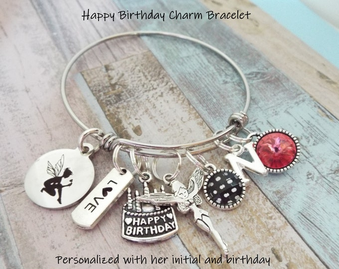 Birthday Gift Girl, Fairy Charm Bracelet, Personalized Gift, Birthday Gift, Children's Birthday, Child's Jewelry, Birthstone Jewelry