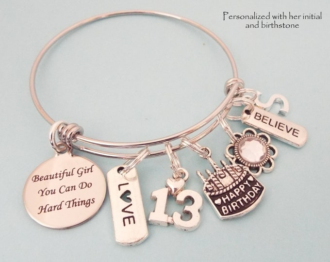 Girl 13th Birthday, Daughter Birthday Charm Bracelet, Personalized Gift, Gift for Her, Granddaughter, Girl Turning 13, Birthstone Jewelry