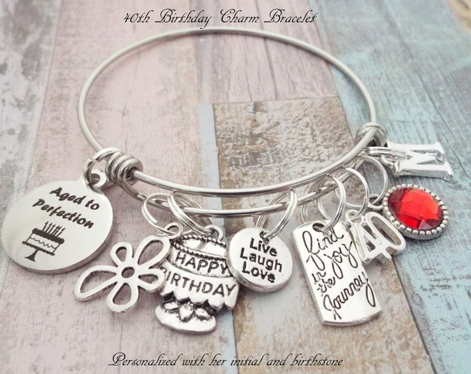 Birthday Gift for Her, 40th Birthday Gifts for Women, Woman's Birthday Jewelry, Friends' Birthday Gift,  Custom Birthday Bracelet, Girl Gift