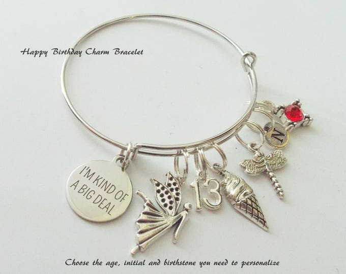 13th Birthday Girl Charm Bracelet for Girl, Teenager Birthday Custom Bracelet, Gift for Teenage Girl Birthday, Personalized Birthday Gift