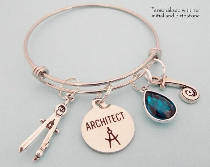 Architect Graduation Charm Bracelet, Graduate Gift for New Architect, Birthstone Jewelry, Initial Bracelet, Personalized Gift for Her