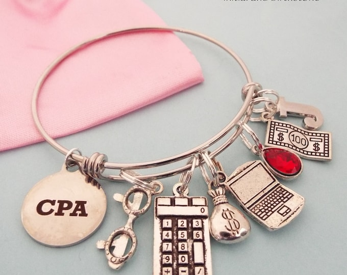 CPA Graduation Gift, Accountant Graduation Gift for CPA, New Graduate Gift, Graduating Woman Charm Bracelet, Initial Bracelet, Gift for Her