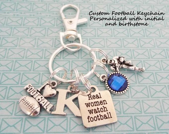 Football Keychain, Football Fan Gift, Real Women Watch Football, Gift for Football Fanatic, Gift for Her, Sports Keychain, Girl Gift