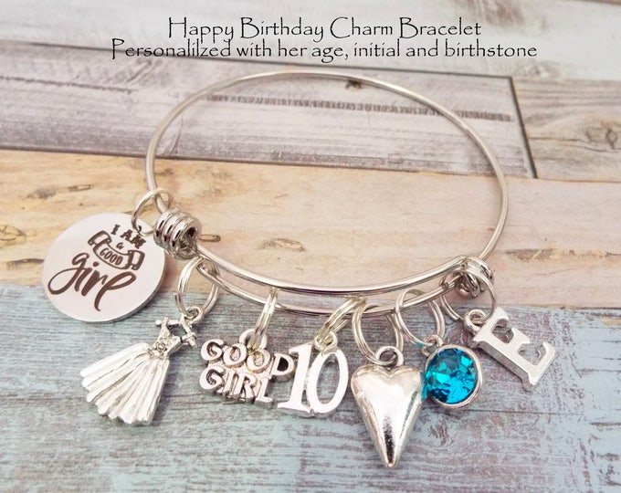 10th Birthday Gift for Girl, Charm Bracelet, 10th Birthday Girl Gift, Gift, Birthstone, Personalized Gift, Custom Jewelry, Gift for Her