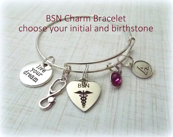 BSN Graduation Gift Charm Bracelet, Nurse Graduate Gift, Personalized Jewelry for Graduating New Nurse, Gift for Her, Custom Jewelry