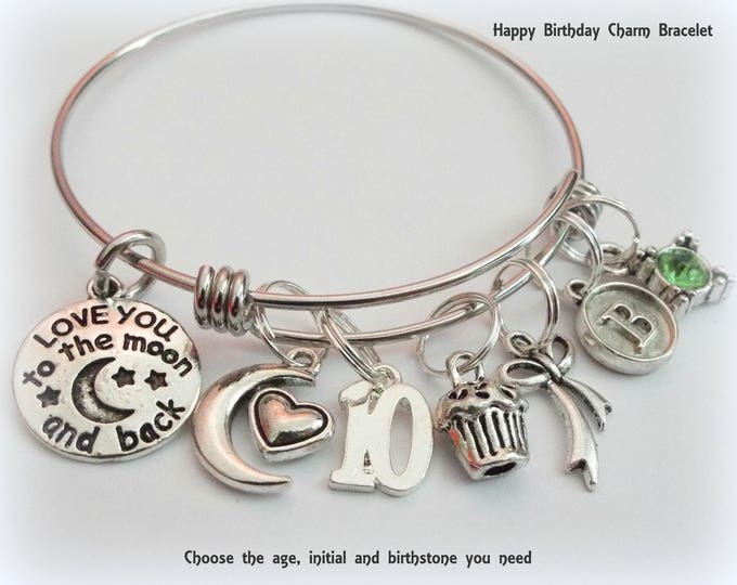 Birthday Bracelet for Girl Turning 10, Personalized Birthday Bracelet, 10 Year Old Birthday Charm Bracelet, Children's Birthday Gift Jewelry