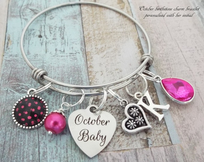 October Birthstone Charm Bracelet, Girl's October Birthday, Birthday for Girl, Gift for Her, Personalized Gift, Custom Jewelry, Girl Gift
