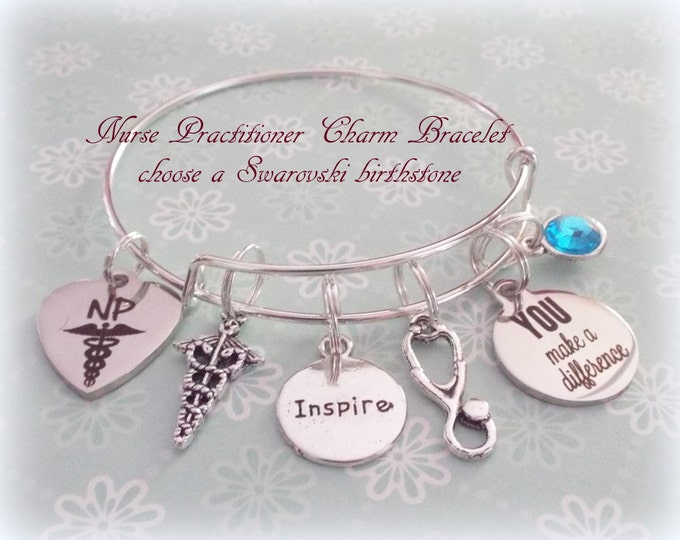 Graduation Gift for Nurse Practitioner, NP Graduate Gift, Personalized Gift for Nurse Graduating, Custom Jewelry, Birthstone Jewelry
