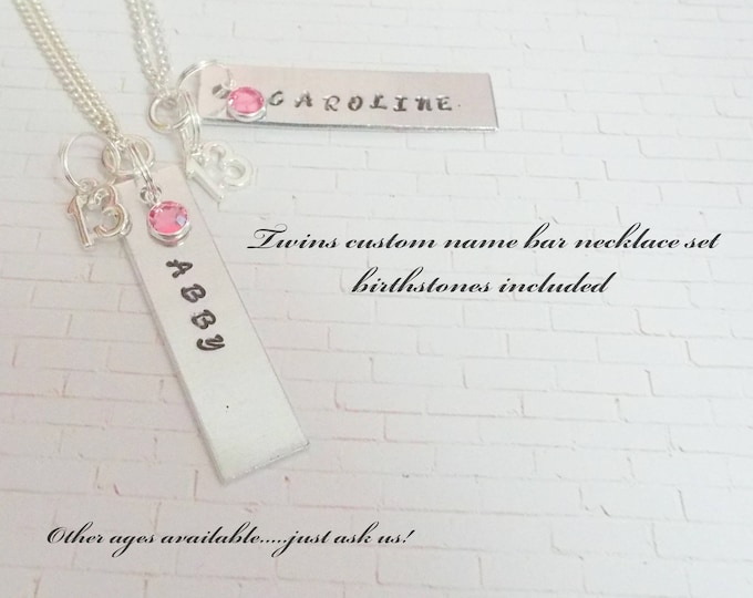 Gift for Twins, Gift for Twins Birthday, Twin Gift Ideas, Name Bar Necklaces for Twins, Custom Jewelry Necklace, Birthstone Jewelry Gift