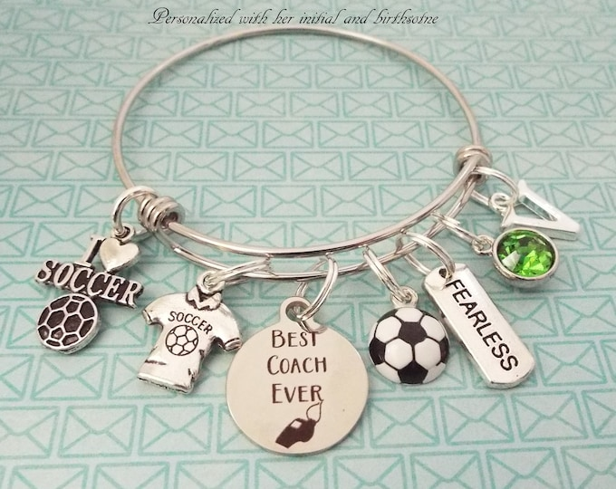 Soccer Coach Gift, Thank You Gift for Coach, Sports Jewelry Gift, Gift for Daughter's Coach, Custom Soccer Coach Charm Bracelet, Coach Gift