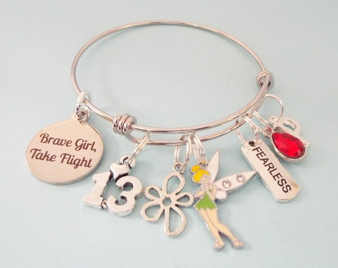 13th Birthday Gift for Girl, Charm Bracelet with Fairy, Personalized Jewelry for Girl Turning 13, Birthstone Jewelry, Initial Bracelet
