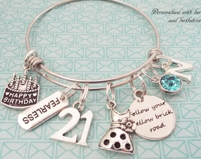 Girl 21st Birthday Charm Bracelet, Birthday for Her, Birthstone Gift Turning 21, Personalized Gift, Custom Jewelry, Bangle Bracelet
