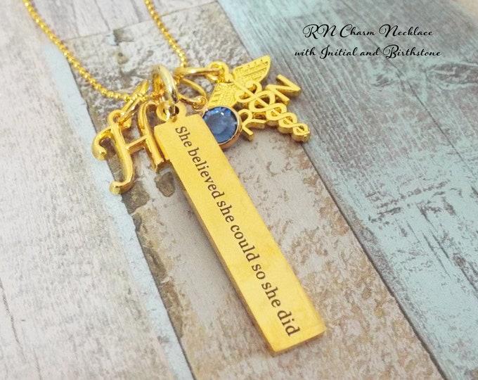 Nurse Graduation Charm Necklace, RN Graduation Gift, Nurse Charm Bracelet, Gift for Nurse, Nursing Jewelry, Gift for Her, Nurse Grad Gift